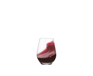 SPIEGELAU Authentis Casual Bordeaux filled with a drink on a white background