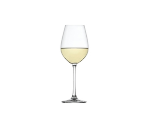 SPIEGELAU Salute White Wine filled with a drink on a white background