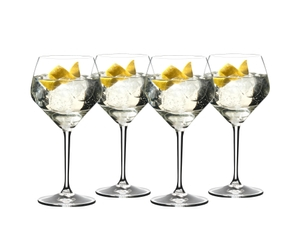 4 gin cocktails served in RIEDEL Gin glasses standing slightly offset side by side