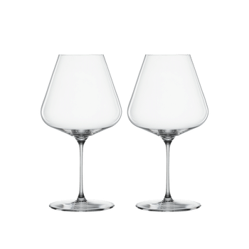 Two unfilled SPIEGELAU Definition Burgundy glasses side by side