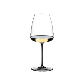 RIEDEL Winewings Sauvignon Blanc filled with a drink on a white background