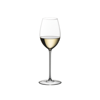 RIEDEL Superleggero Loire filled with a drink on a white background