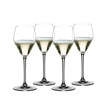 RIEDEL Prosecco Set filled with a drink on a white background