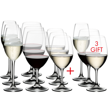 RIEDEL Ouverture White Wine/Magnum/Champagne Glass filled with a drink on a white background