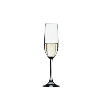 SPIEGELAU Vino Grande Champagne Flute filled with a drink on a white background