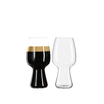 SPIEGELAU Craft Beer Glasses Stout (Set of 2) filled with a drink on a white background