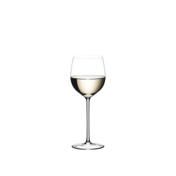 RIEDEL Sommeliers Alsace filled with a drink on a white background
