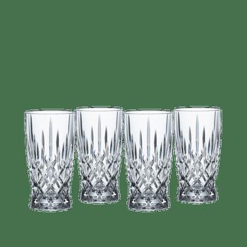 4 unfilled NACHTMANN Noblesse Softdrink glasses on white background