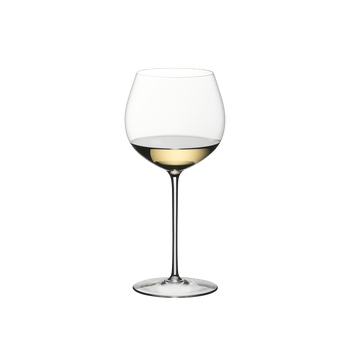 RIEDEL Superleggero Oaked Chardonnay filled with a drink on a white background