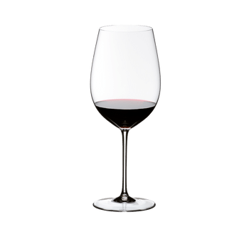 RIEDEL Sommeliers Bordeaux Grand Cru filled with a drink on a white background