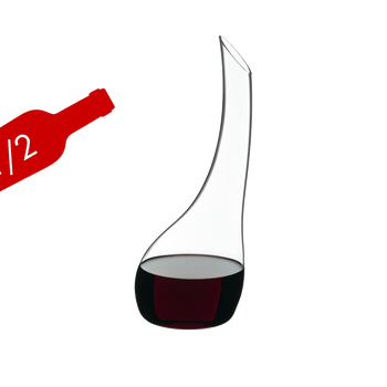 RIEDEL Decanter Cornetto Mini filled with a drink on a white background