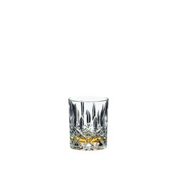 RIEDEL Tumbler Collection Spey Whisky filled with a drink on a white background