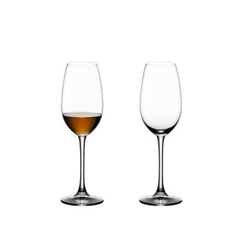 RIEDEL Ouverture Sherry filled with a drink on a white background