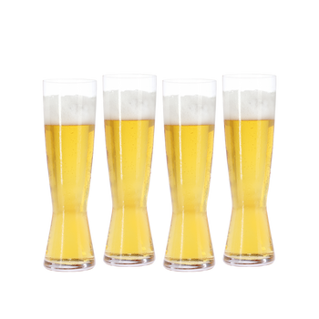 SPIEGELAU Beer Classics Tall Pilsner filled with a drink on a white background