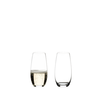 RIEDEL O Wine Tumbler Champagne Glass filled with a drink on a white background