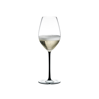 RIEDEL Fatto A Mano Champagne Wine Glass Black filled with a drink on a white background