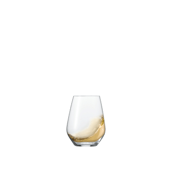 SPIEGELAU Authentis Casual All Purpose Tumbler M (Set of 4) filled with a drink on a white background