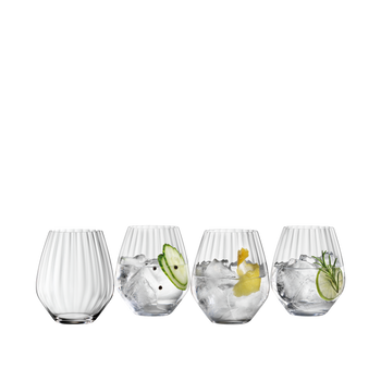 SPIEGELAU Special Glasses Gin Tonic Set filled with a drink on a white background