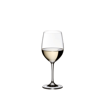 RIEDEL Vinum Restaurant Viognier/Chardonnay filled with a drink on a white background