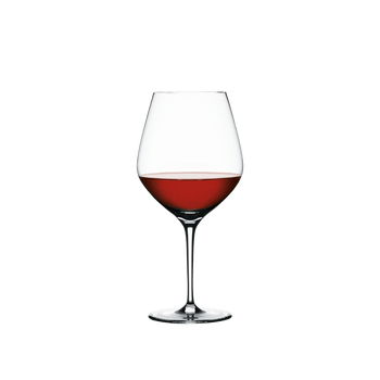 SPIEGELAU Authentis Burgundy filled with a drink on a white background