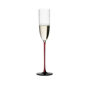 RIEDEL Black Series Collector's Edition Sparkling Wine filled with a drink on a white background