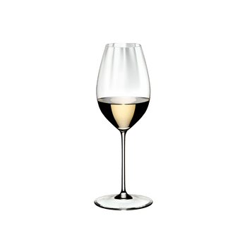 RIEDEL Performance Restaurant Sauvignon Blanc filled with a drink on a white background
