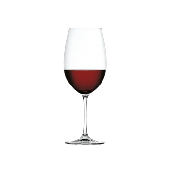 SPIEGELAU Salute Bordeaux filled with a drink on a white background