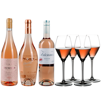 3 different closed bottles of rosé wine side by side and next to 4 rosé wine filled RIEDEL Extreme Rosé Wine/ Rosé Champagne glasses
