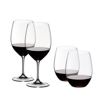 2 Vinum Cabernet glasses and 2 O Wine Tumbler Cabernet filled with red wine