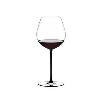 RIEDEL Fatto A Mano Pinot Noir Black filled with a drink on a white background