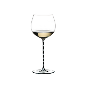 RIEDEL Fatto A Mano Oaked Chardonnay Black & White filled with a drink on a white background