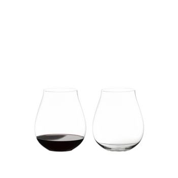 RIEDEL O Wine Tumbler New World Pinot Noir filled with a drink on a white background