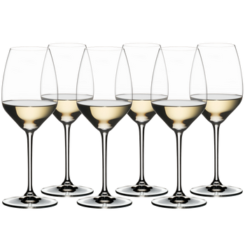 RIEDEL EXTREME RIESLING filled with a drink on a white background
