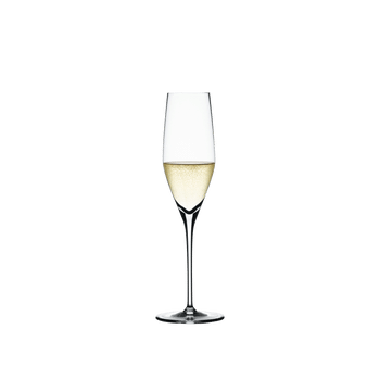SPIEGELAU Authentis Sparkling Wine filled with a drink on a white background
