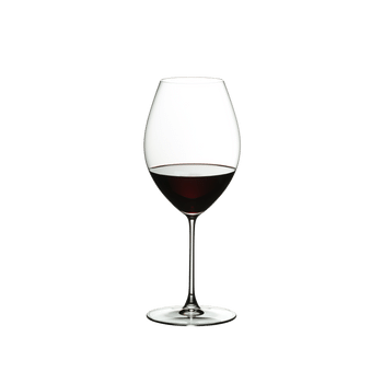 RIEDEL Veritas Restaurant Old World Syrah filled with a drink on a white background