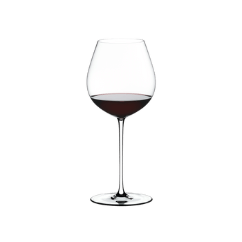 RIEDEL Fatto A Mano Pinot Noir White filled with a drink on a white background