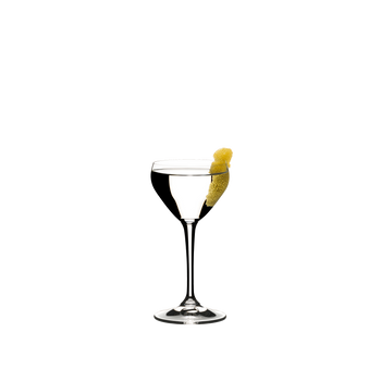 RIEDEL Drink Specific Glassware Nick & Nora filled with a drink on a white background