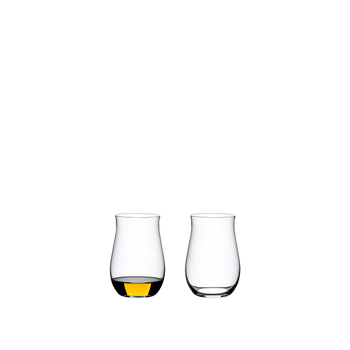 A white wine filled and an unfilled RIEDEL O Wine Tumbler Cognac glass side by side