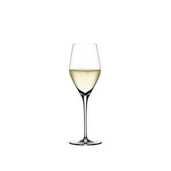 SPIEGELAU Authentis Champagne Flute filled with a drink on a white background