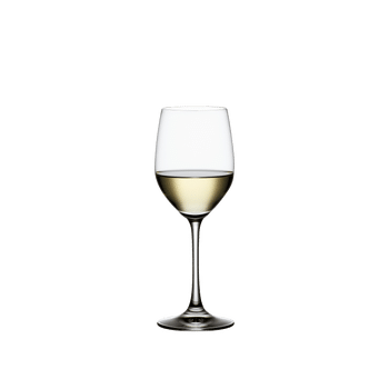 SPIEGELAU Vino Grande White Wine filled with a drink on a white background