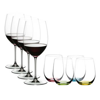 Special Offer - RIEDEL Veritas Cabernet + O Wine Tumbler Happy O filled with a drink on a white background