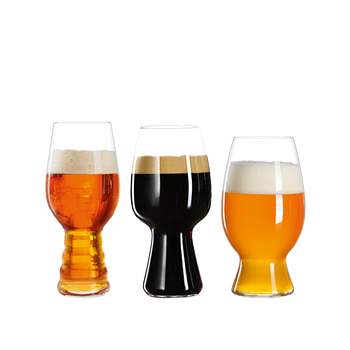 SPIEGELAU Craft Beer Glasses Tasting Kit filled with a drink on a white background