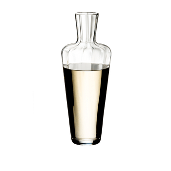 RIEDEL Decanter Mosel filled with a drink on a white background