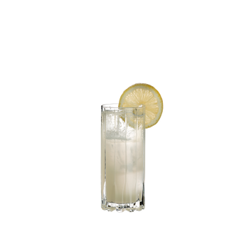 RIEDEL Drink Specific Glassware Highball filled with a drink on a white background