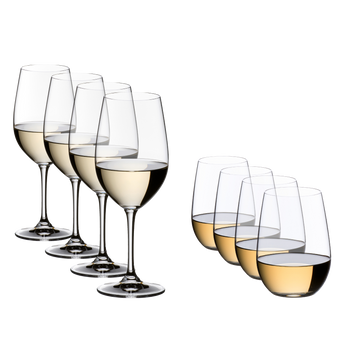 Special Offers - RIEDEL Vinum Riesling Grand Cru/Zinfandel + O Wine Tumbler Riesling/Sauvignon Blanc Set filled with a drink on a white background