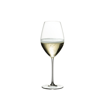 RIEDEL Veritas Restaurant Champagne Wine Glass filled with a drink on a white background