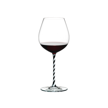 RIEDEL Fatto A Mano Pinot Noir Black & White R.Q. filled with a drink on a white background