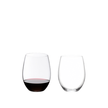 Two RIEDEL O Wine Tumbler Cabernet/Merlot on white background. The one on the left side is filled with red wine, the one on the right side is empty.