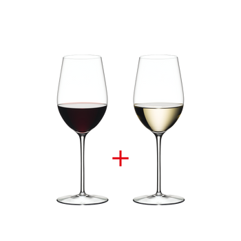 RIEDEL Sommeliers Riesling Grand Cru/Zinfandel filled with a drink on a white background