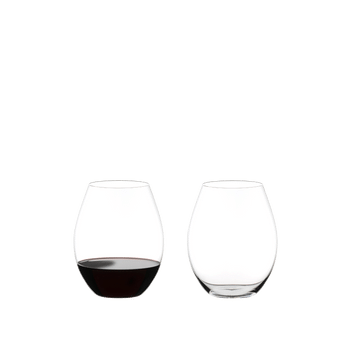 RIEDEL O Wine Tumbler Old World Syrah filled with a drink on a white background